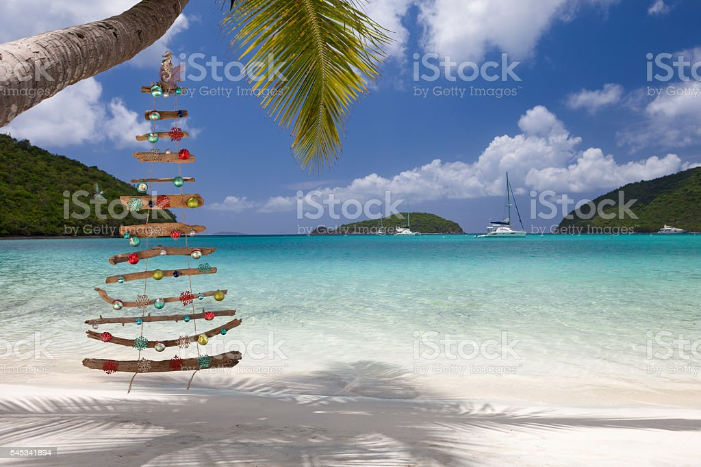 Christmas beach, Maho St John stock photo