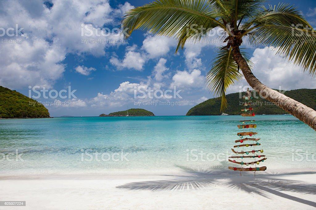 Christmas beach, Maho St John stock photo