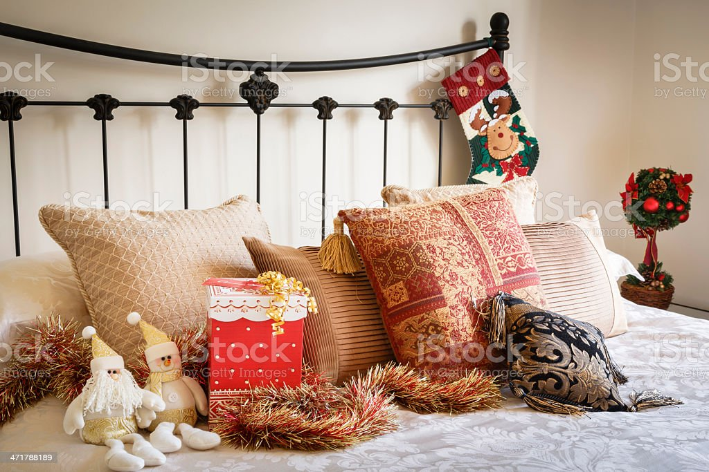 Christmas bedroom interior royalty-free stock photo