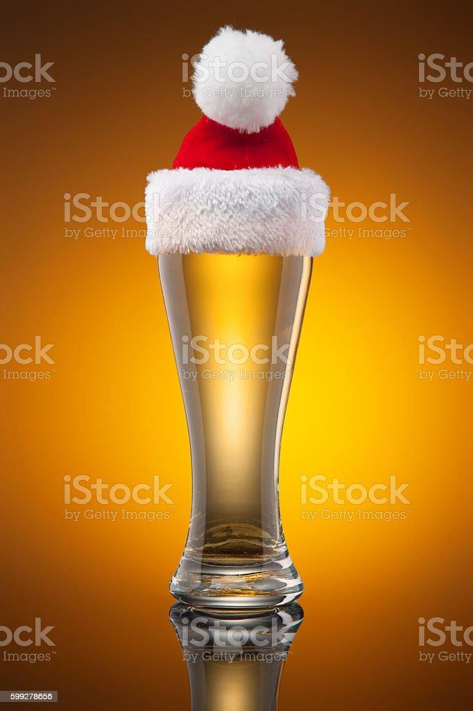 Christmas beer mug stock photo