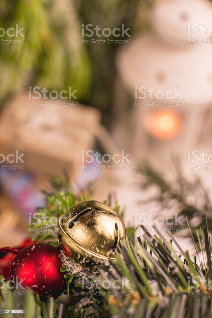 Christmas Bell Closeup, Winter Background stock photo