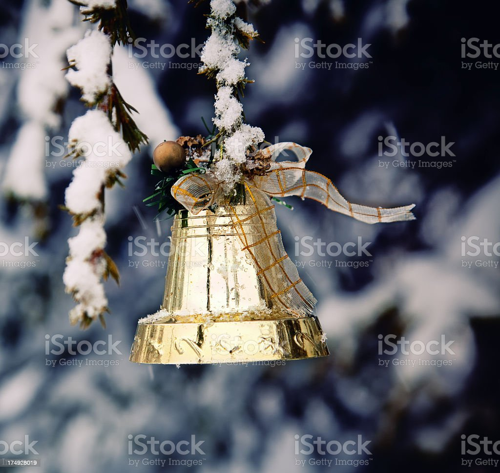 Christmas Bell On Pine Tree stock photo