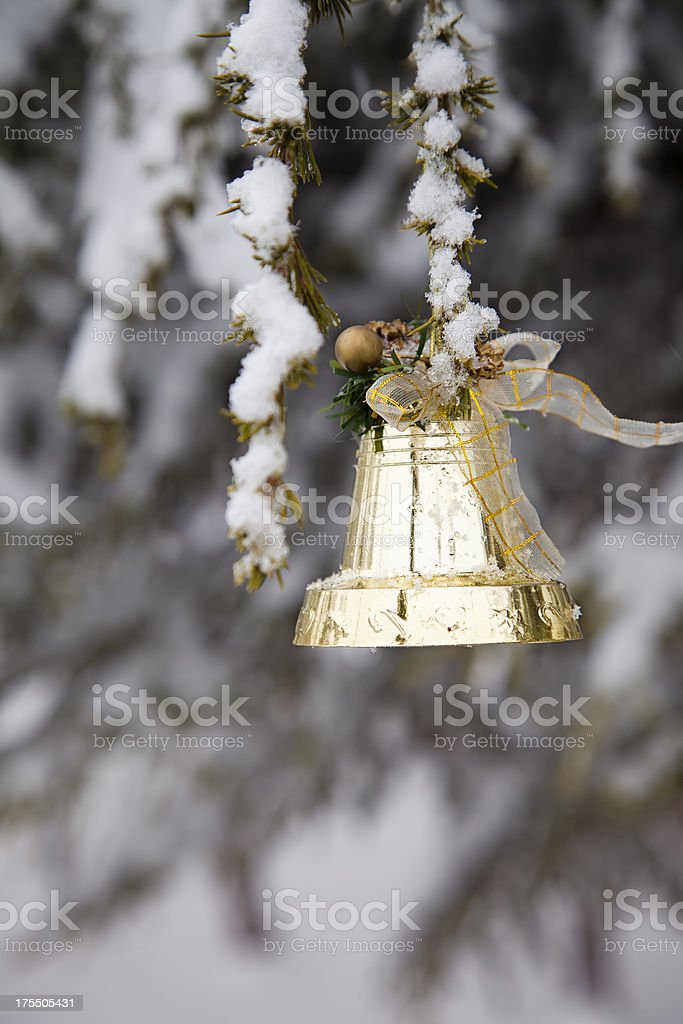 Christmas Bell On Pine Tree royalty-free stock photo
