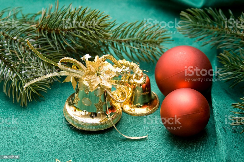 Christmas bell with balls stock photo