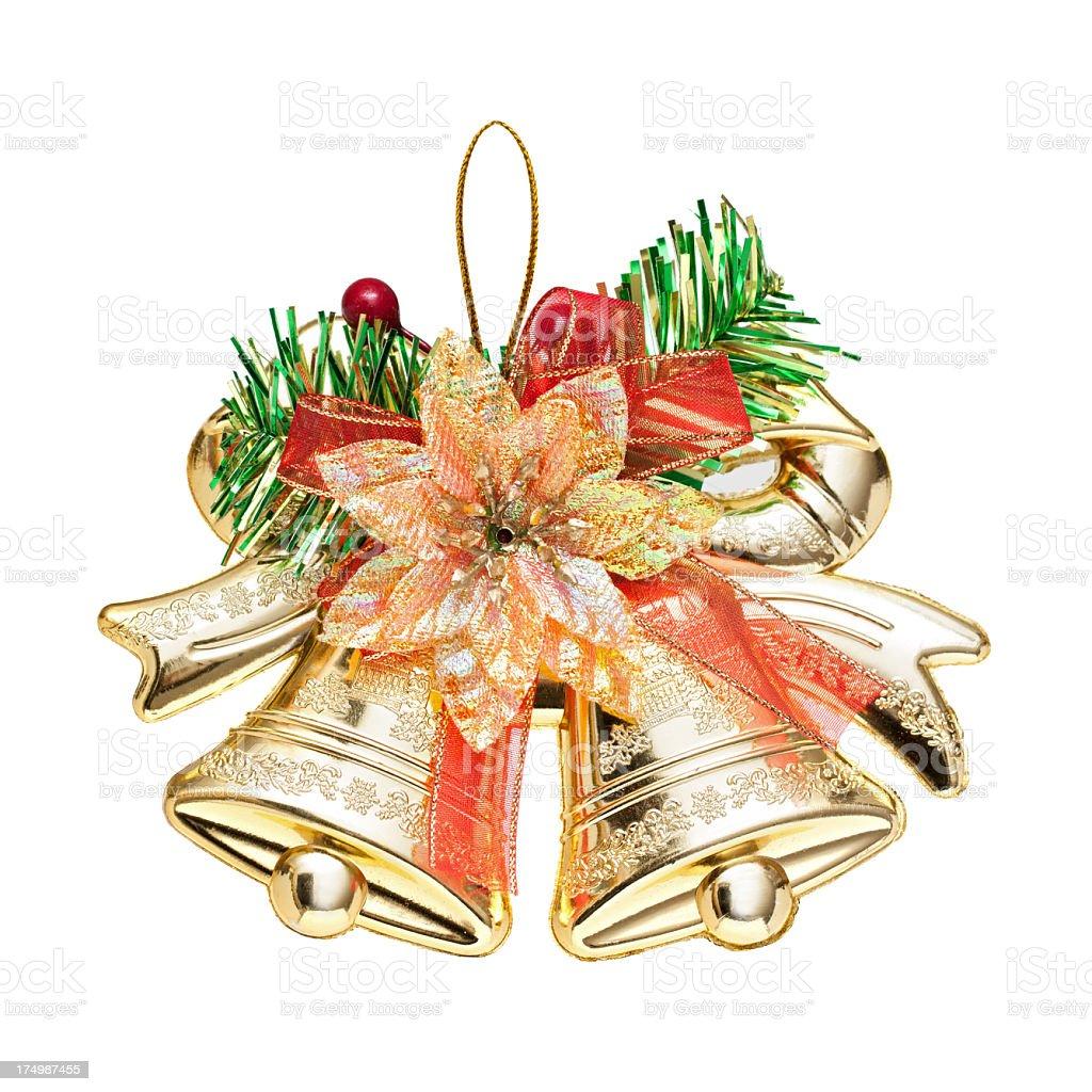 Christmas Bells decoration isolated on white background stock photo