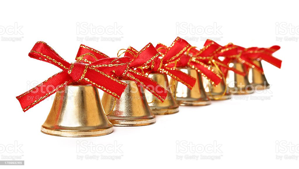 Christmas Bells in a row stock photo