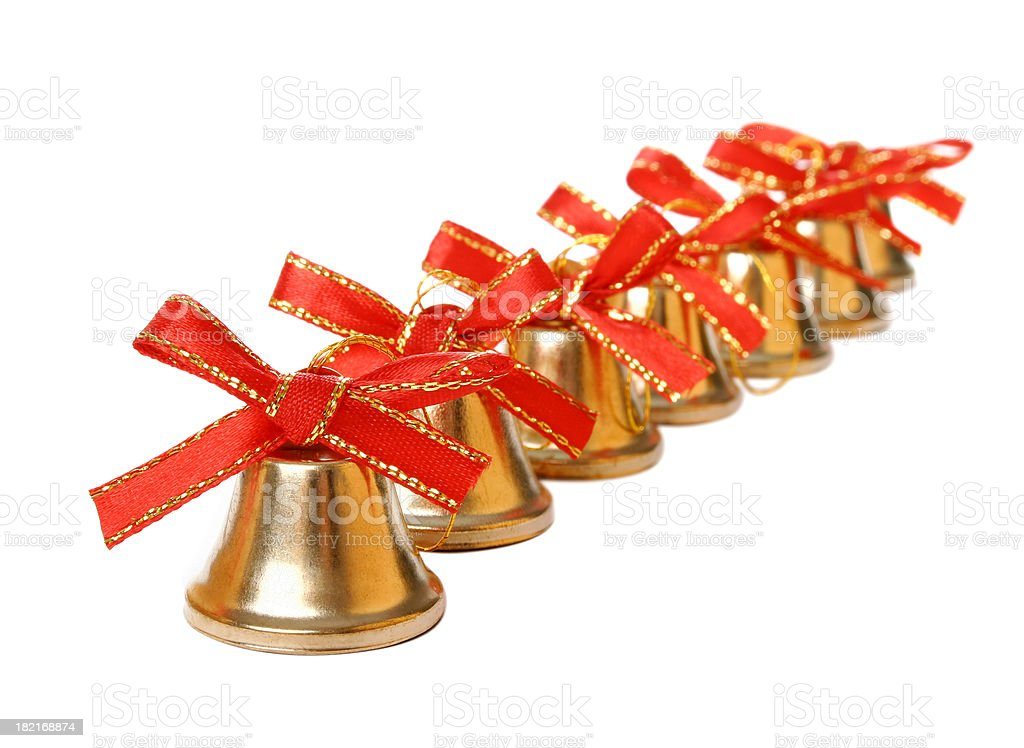 Christmas Bells in a row royalty-free stock photo