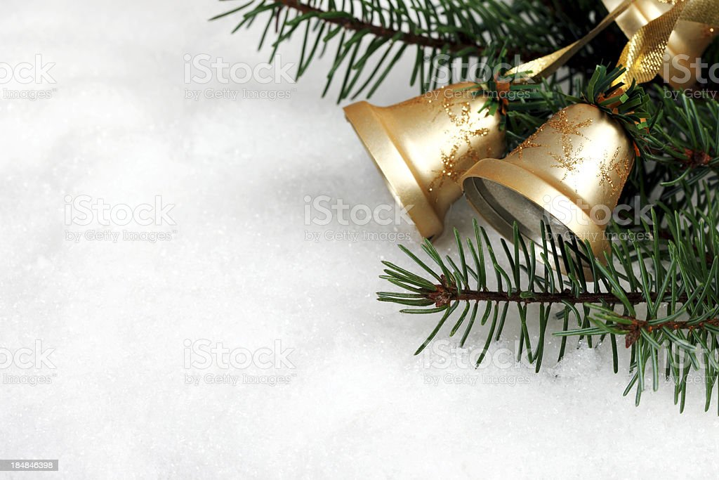 Christmas Bells in Snow stock photo