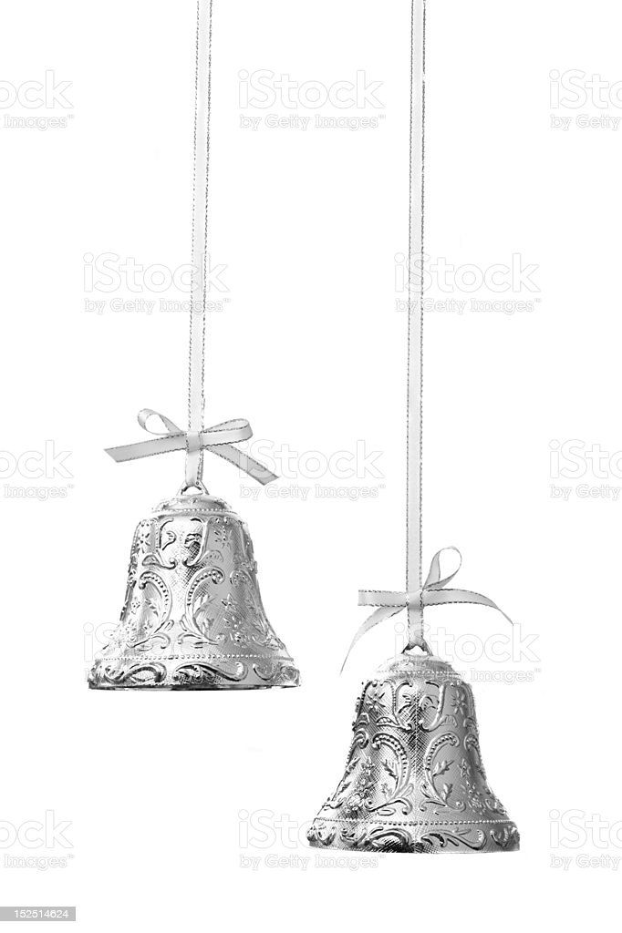 Christmas bells isolated on white stock photo
