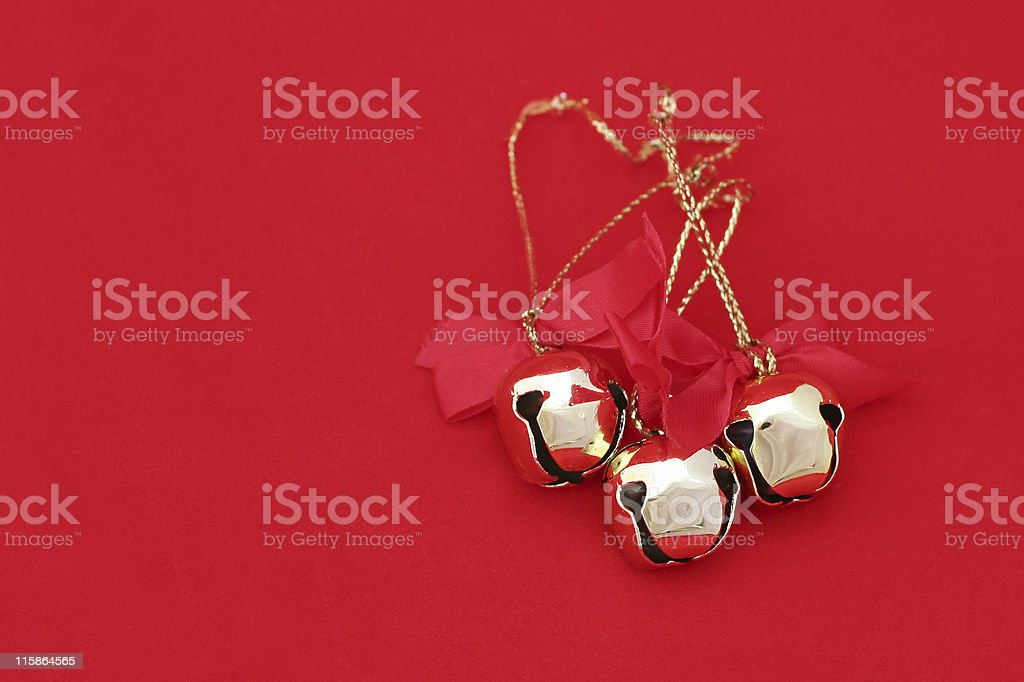 Christmas Bells on Red stock photo