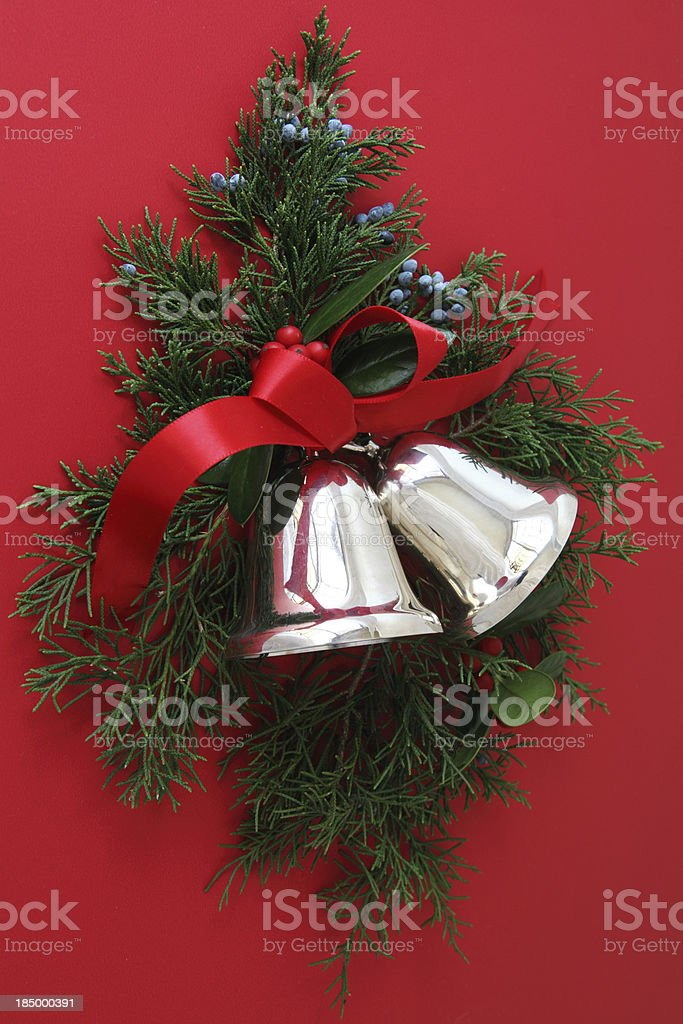 Christmas Bells on Red royalty-free stock photo