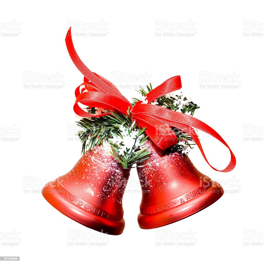 Christmas bells on white background royalty-free stock photo