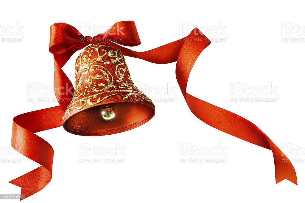 Christmas bells with red ribbon isolated on white background stock photo