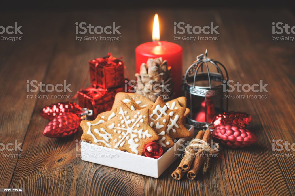Christmas biscuits, decorations, vintage toned stock photo