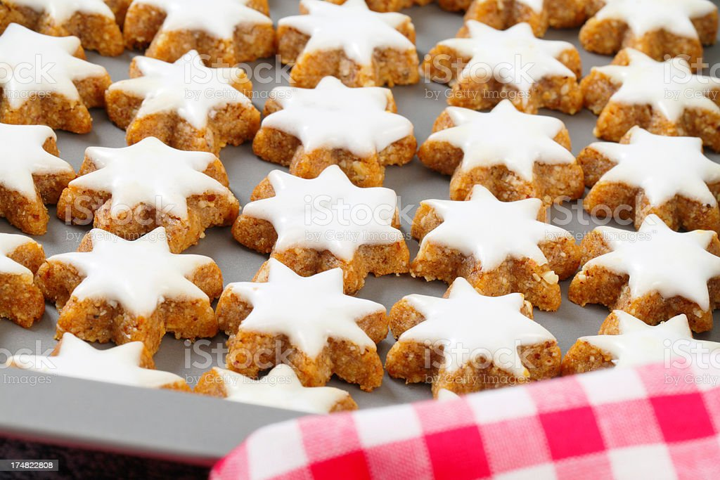 christmas biscuits in a baking pan royalty-free stock photo