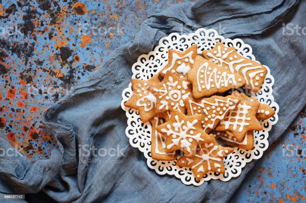 Christmas biscuits in plate stock photo