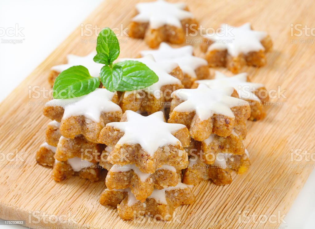 christmas biscuits on cutting board stock photo