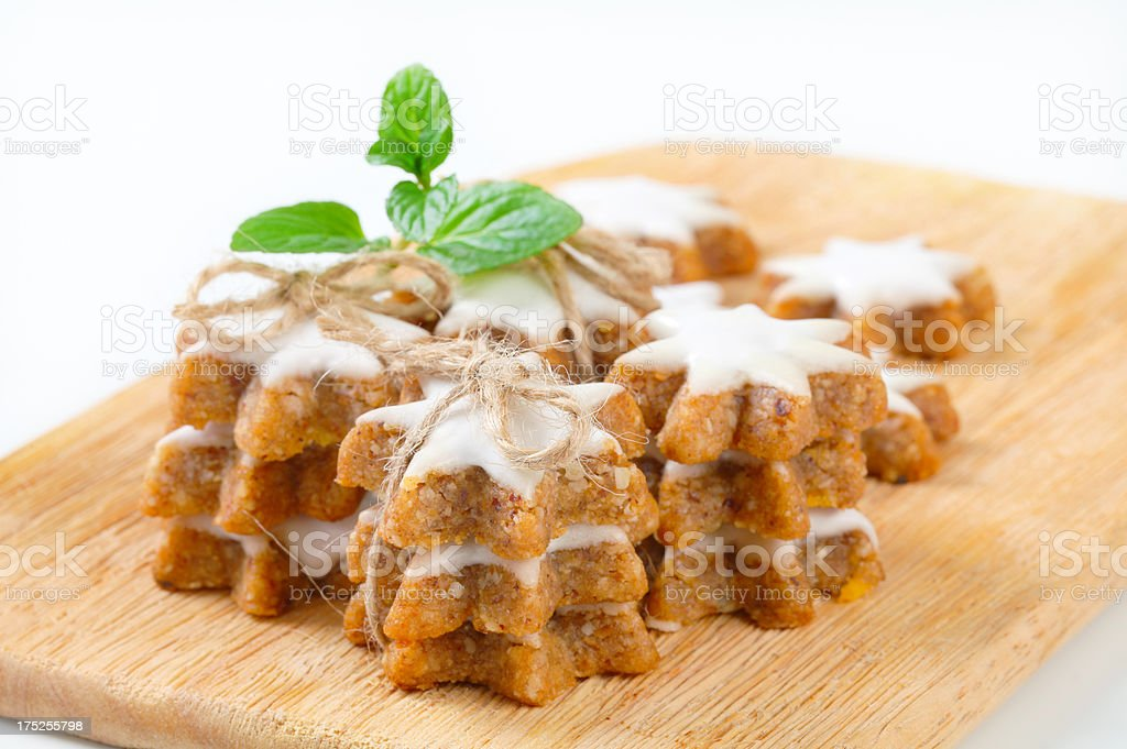 christmas biscuits on cutting board royalty-free stock photo