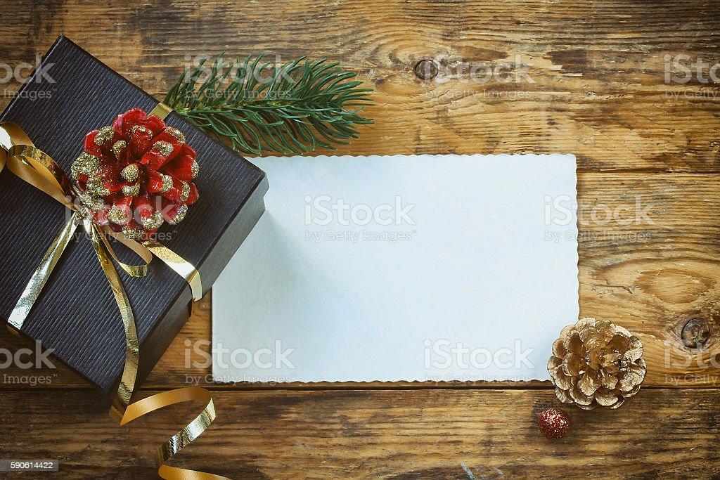 Christmas black gift box, paper card stock photo