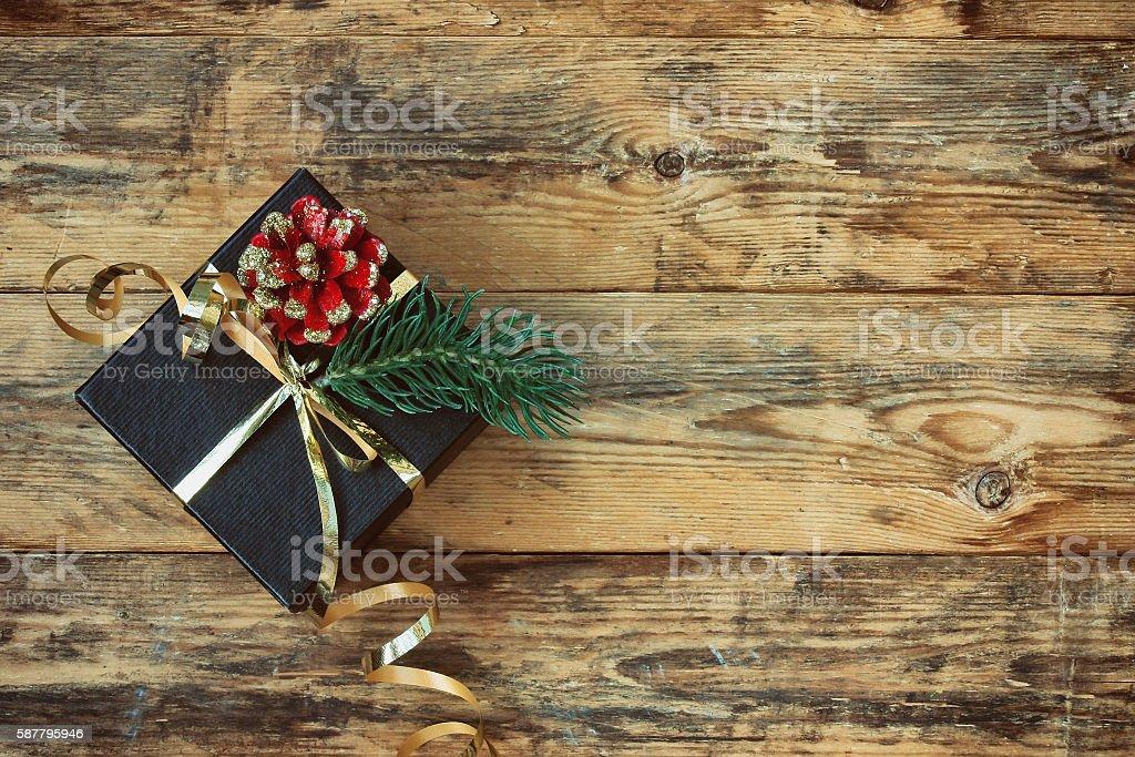 Christmas black gift box stock photo