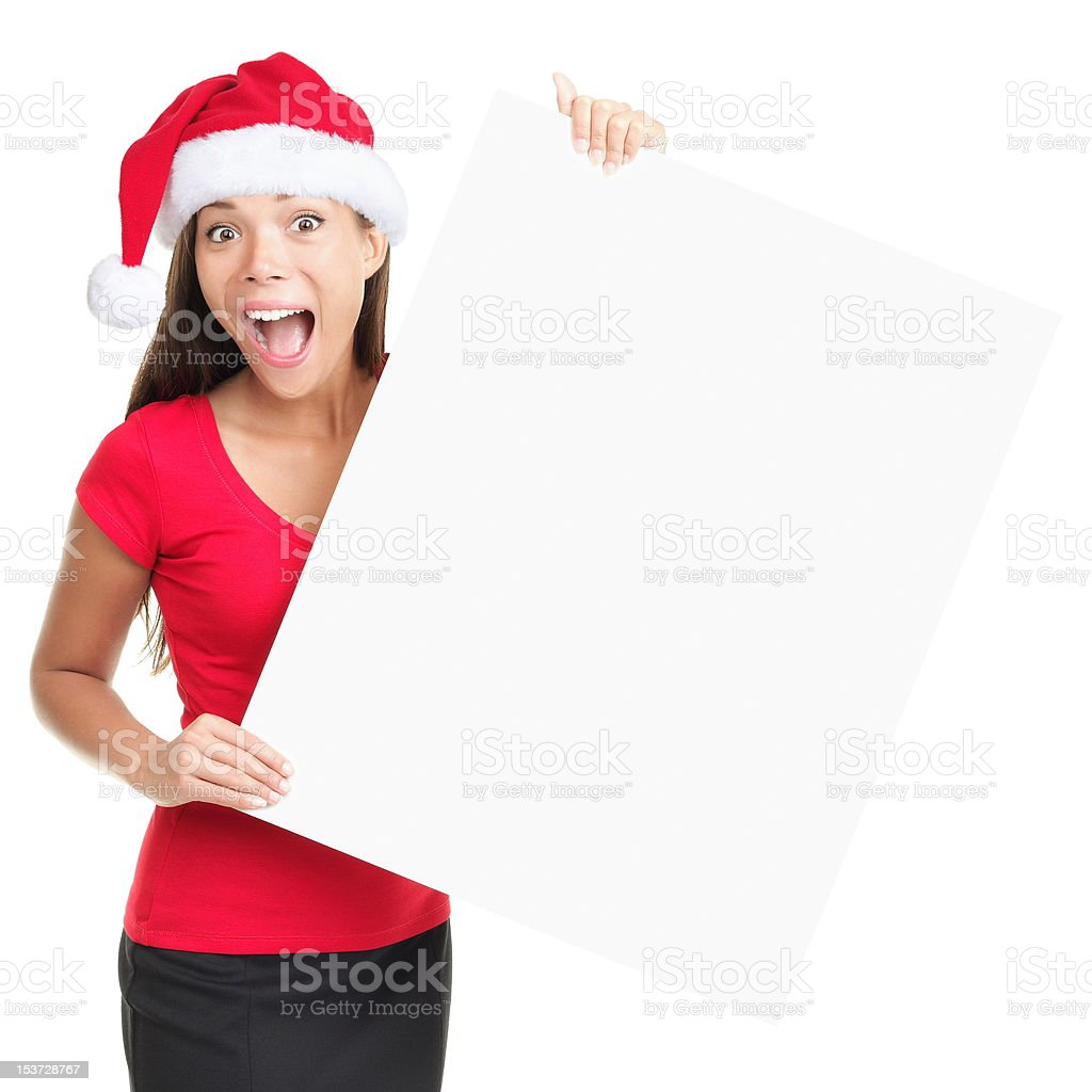 Christmas blank sign woman royalty-free stock photo