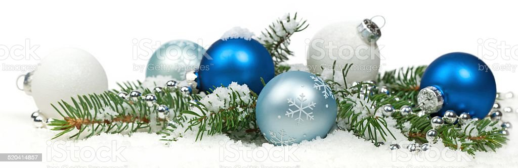 Christmas blue and silver balls, selective focus. stock photo