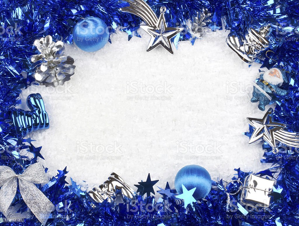 Christmas blue and silver frame royalty-free stock photo