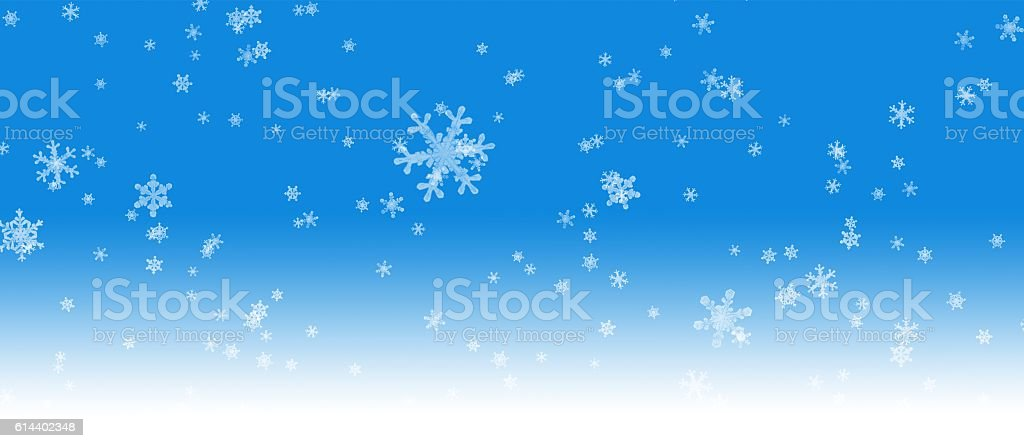 Christmas blue background with snow stock photo