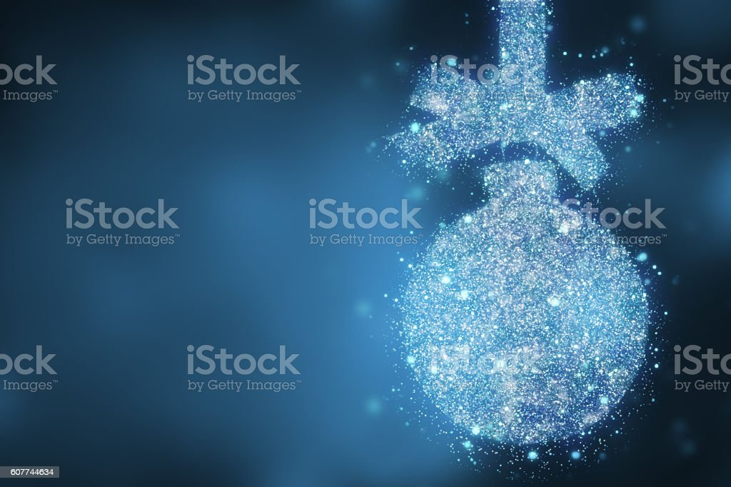 Christmas blue bauble shape over magic bokeh  background stock photo
