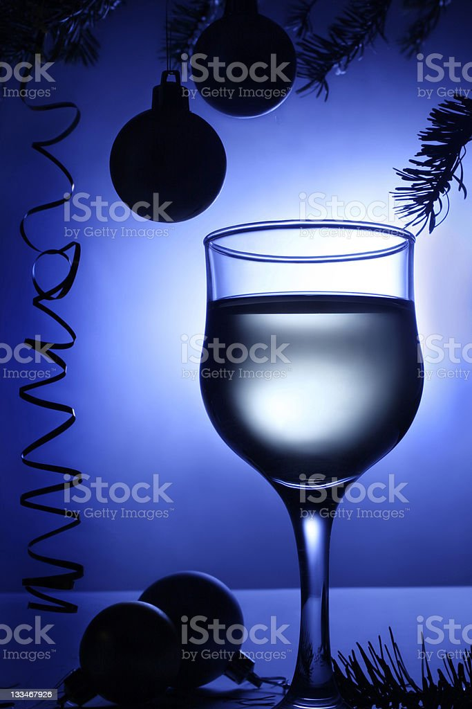 Christmas blue decorations baubles and beverage. royalty-free stock photo