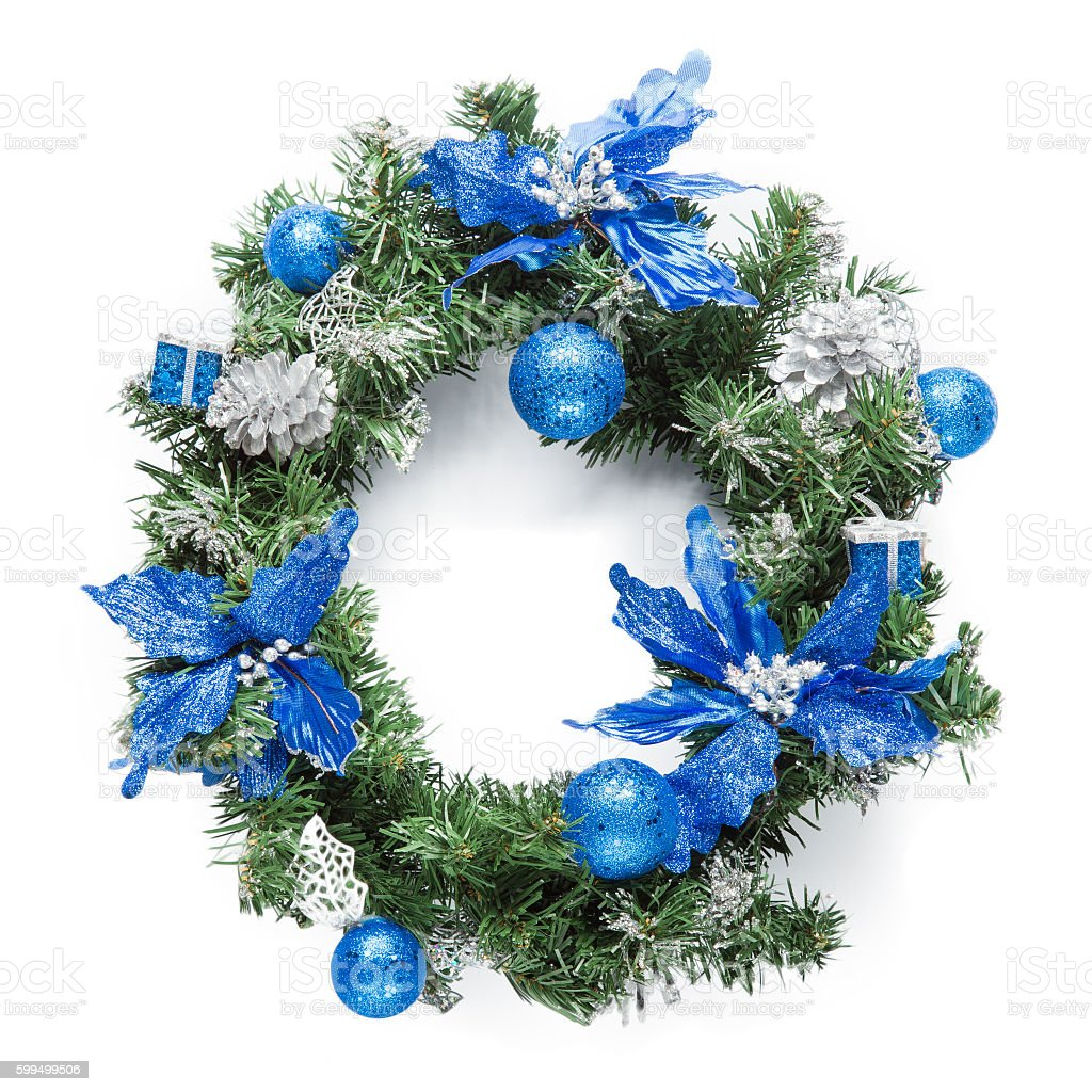 Christmas blue wreath isolated on white stock photo