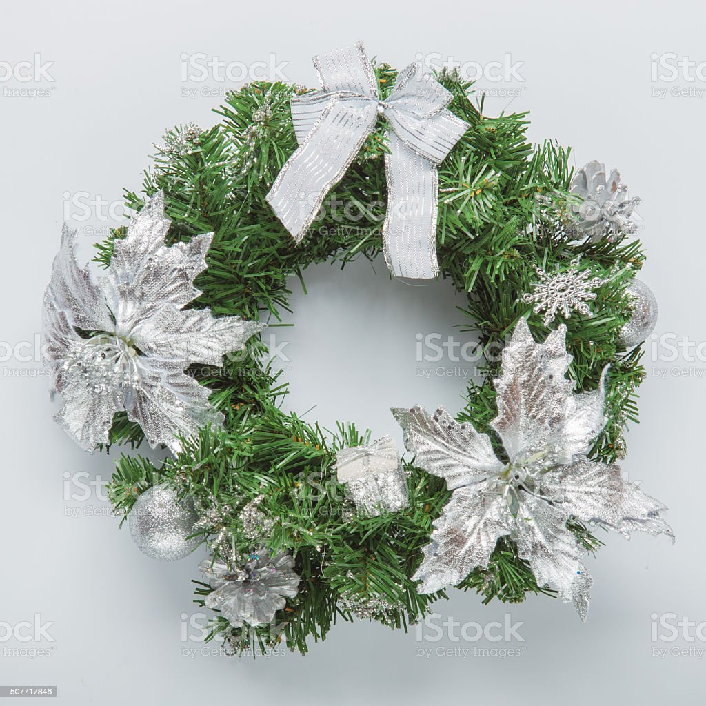 Christmas blue wreath on white stock photo