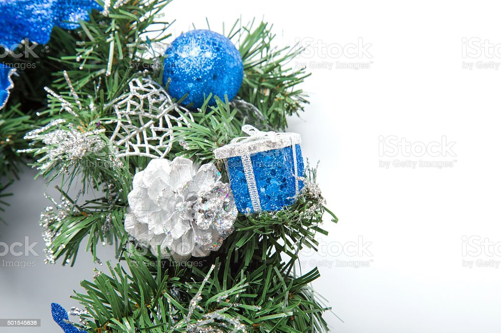 Christmas blue wreath stock photo