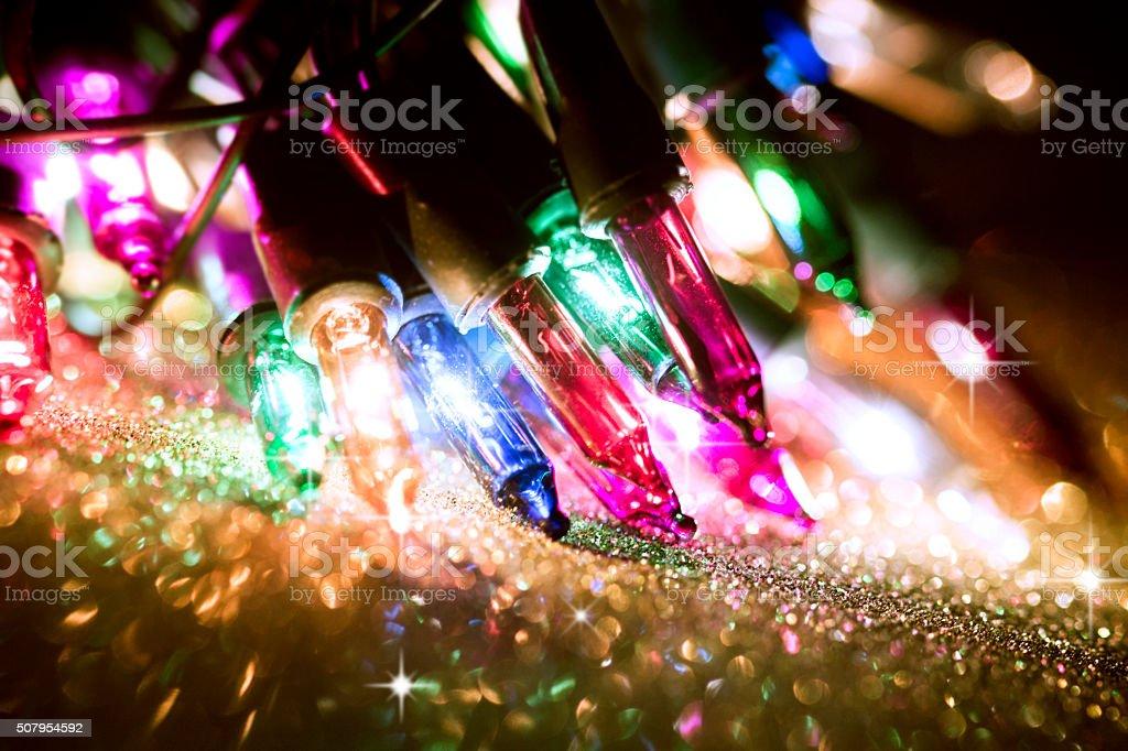 Christmas bokeh lights stock photo