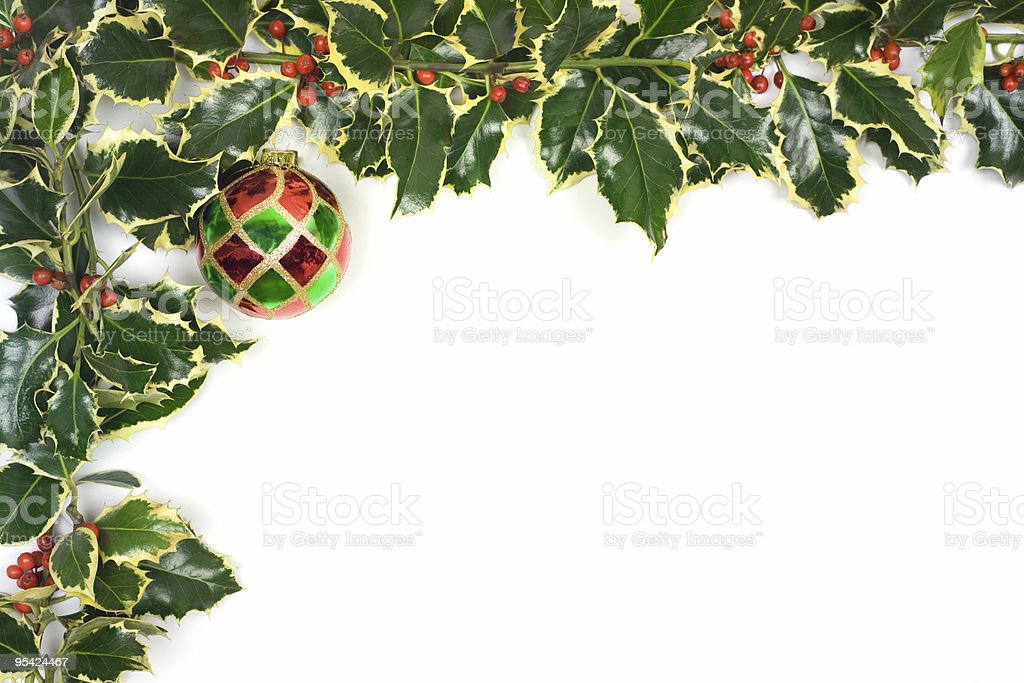 Christmas border holly and baubles stock photo