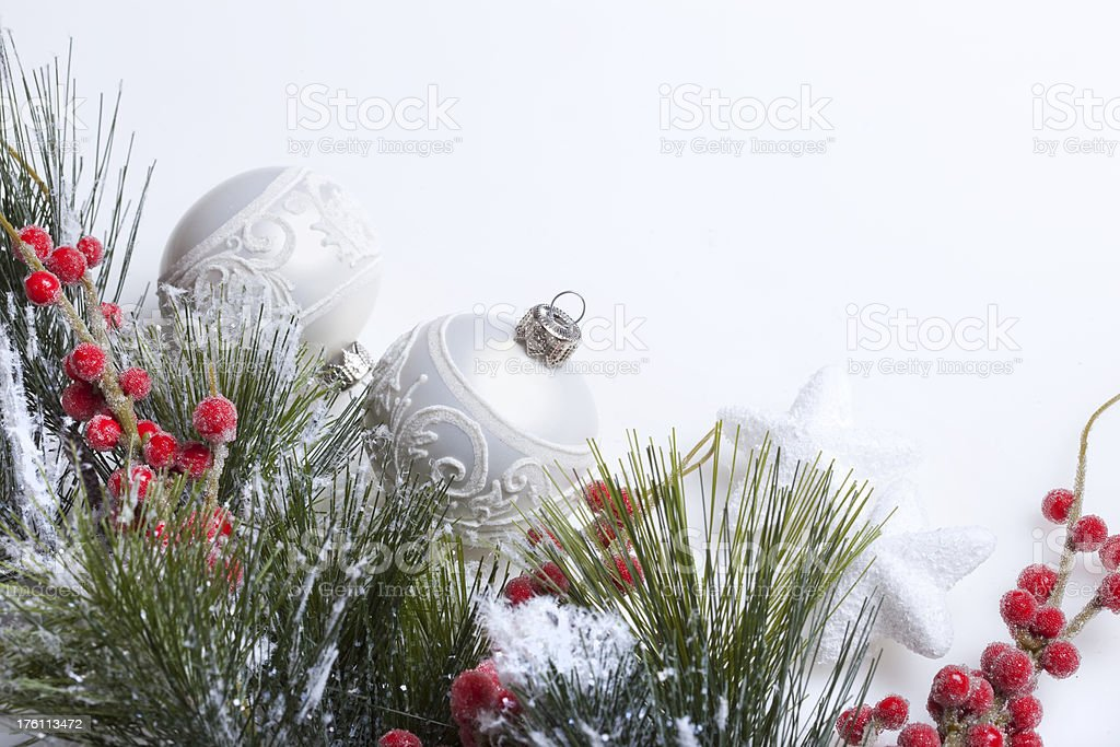 Christmas Border with baubles and berries royalty-free stock photo