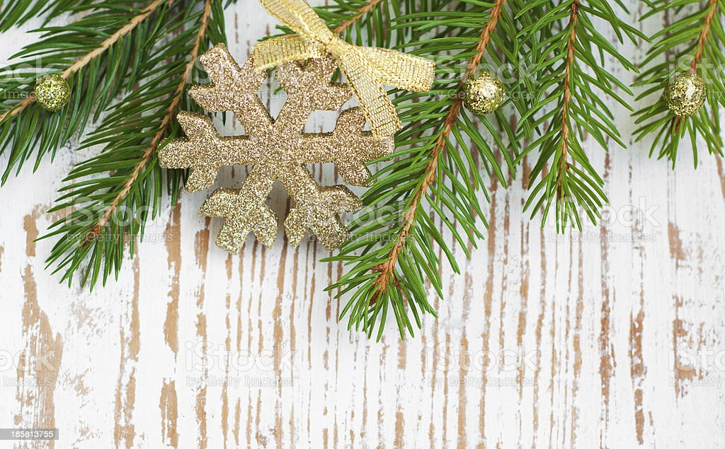Christmas border with pine tree royalty-free stock photo