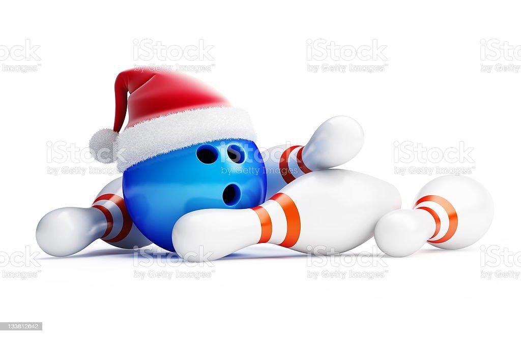 Christmas bowling santa hat stock photo