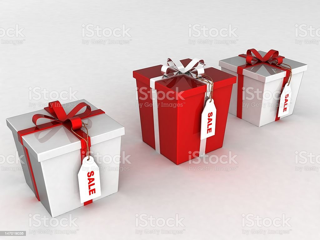 Christmas boxes sale tags royalty-free stock photo