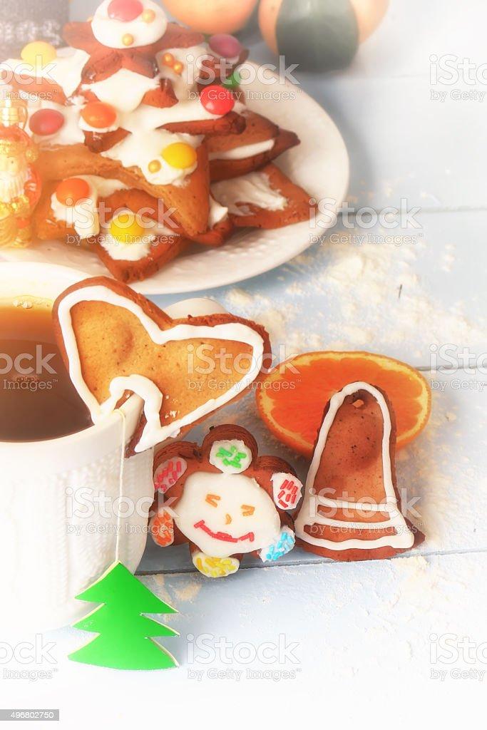 Christmas breakfast tea with Gingerbread Cookie baking cinnamon dessert stock photo
