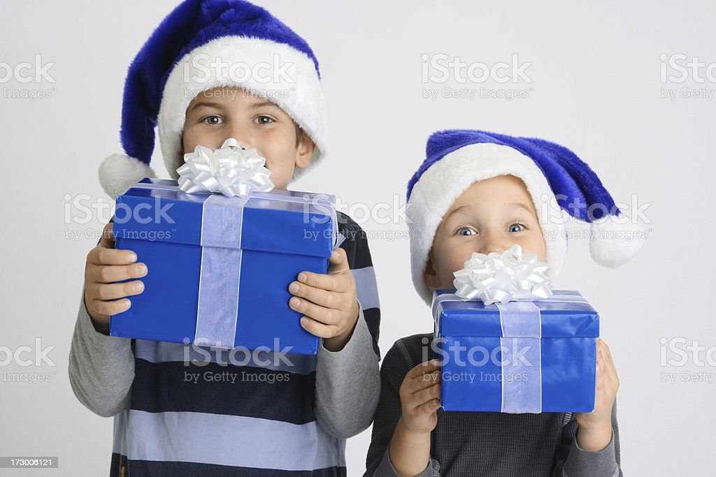 Christmas Brothers royalty-free stock photo