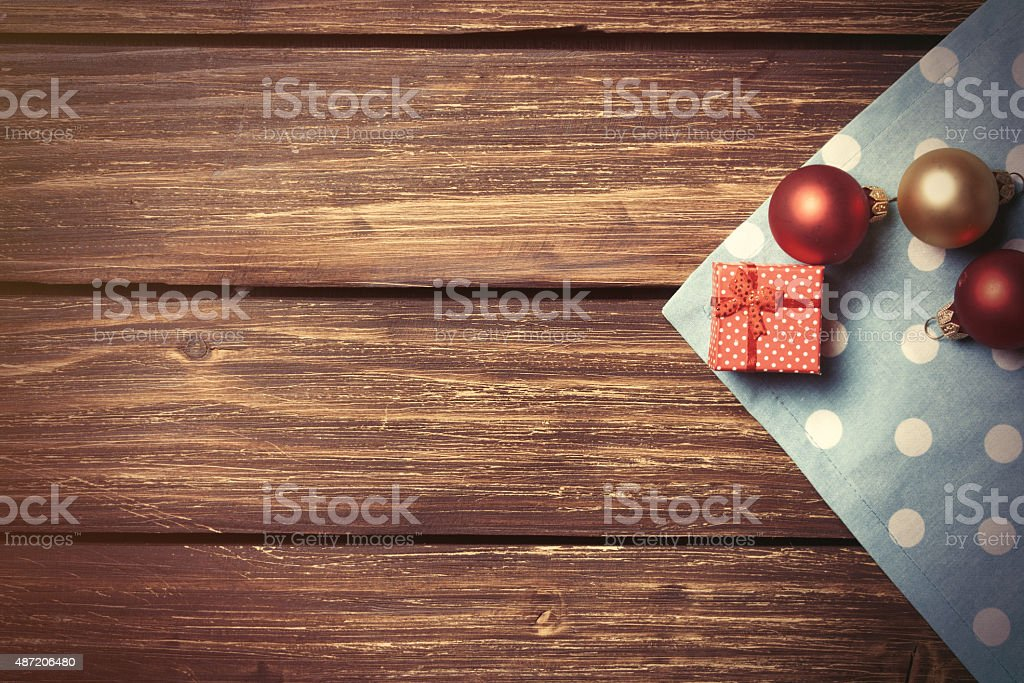 Christmas bubbles and gift box stock photo