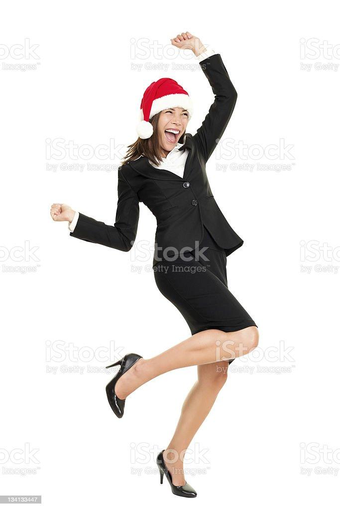 Christmas business woman wearing santa hat royalty-free stock photo