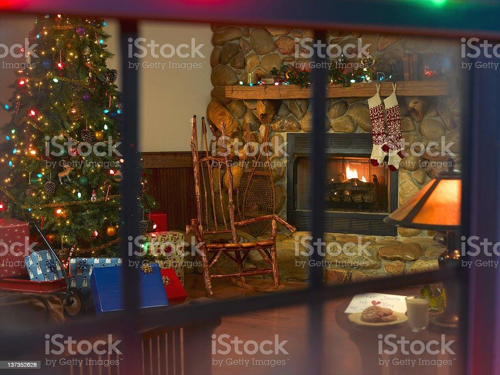Christmas Cabin Scene royalty-free stock photo