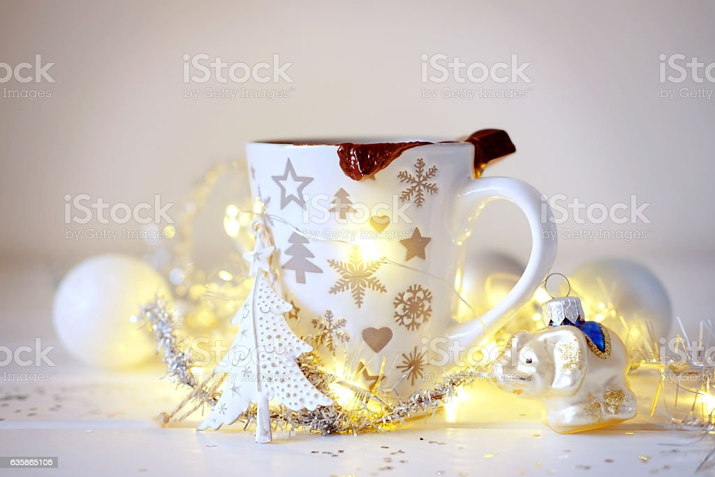 Christmas cacao hot drink with chocolate bar stock photo