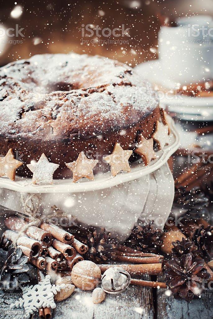 Christmas Cake Decorated with Powered Sugar. Drawn snow stock photo