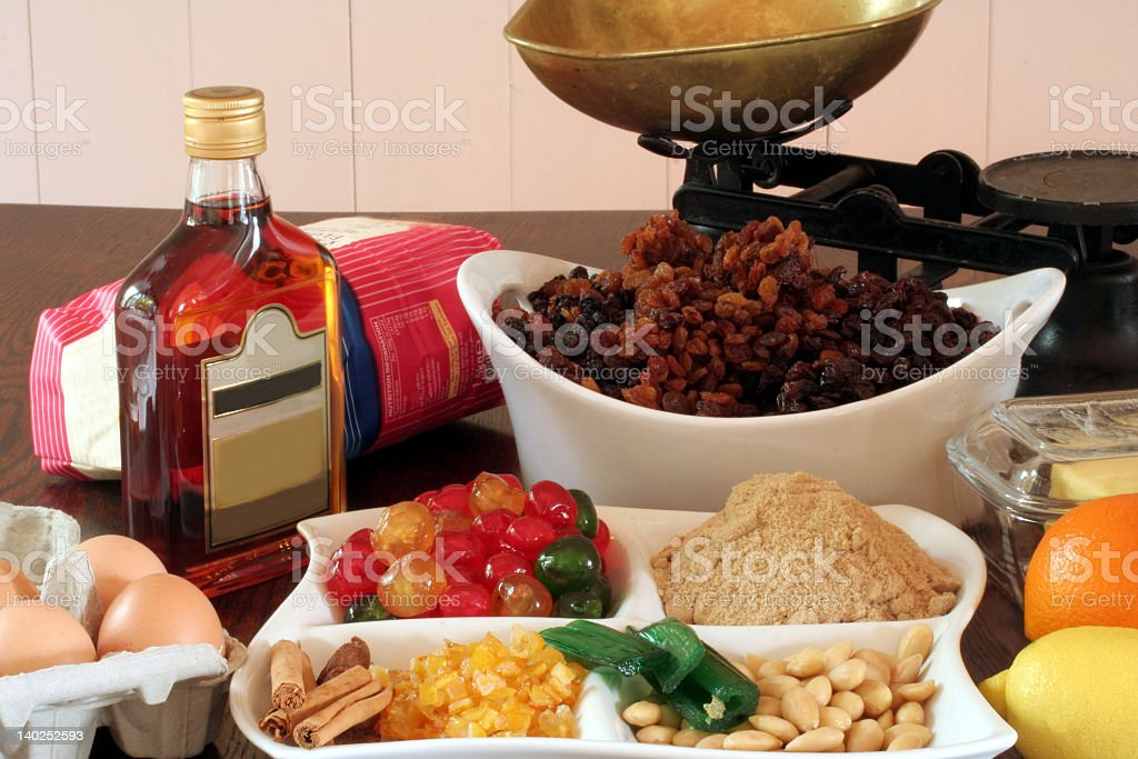 Christmas cake ingredients royalty-free stock photo