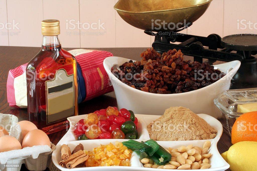 Christmas cake ingredients stock photo
