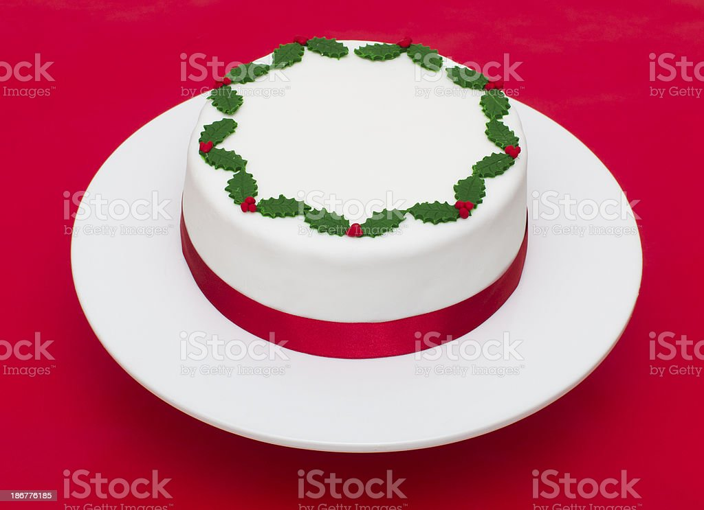 Christmas Cake on a red background royalty-free stock photo