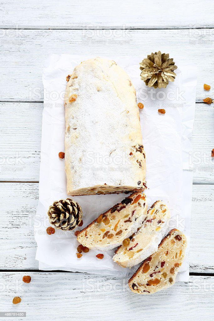 Christmas cake on the boards stock photo